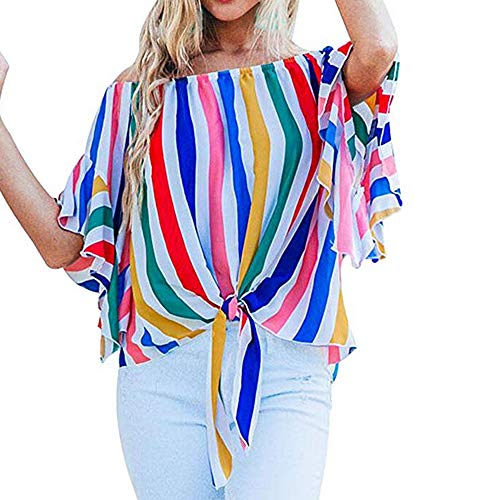 Big Promotion! Clearance Sale! Seaintheson Women's Blouses Striped Off Shoulder Bell Sleeve Shirt Tie Knot Casual -