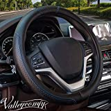 Valleycomfy Steering Wheel Covers Universal 15 inch - Genuine Leather, Breathable, Anti Slip & Odor Free (15' Leather-05D, Black with Blue Lines)