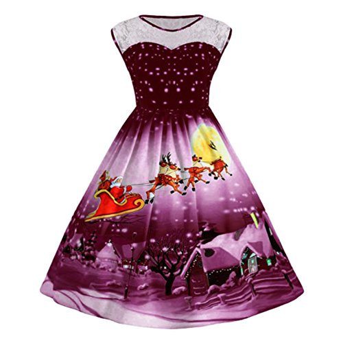 HOMEBABY Womens Retro Christmas Swing Dress Long Sleeve O Neck Vintage Cocktail Party Gown Evening Dress Ladies A Line Mini Dress Size 8 to 22