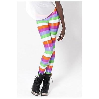 Fortuning's JDS Modern stripes digital printing skinny tights stretchy pants yoga leggings