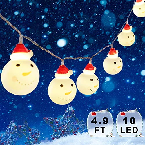 Snowman Christmas Lights, Xmas String Lights Waterproof 4.9 ft 10 LEDs, Fairy Strings Battery Operated Indoor Outdoor, DIY Lights Decorations for Home, Garden, Patio Festival Party (Warm White) (Snowman Light)