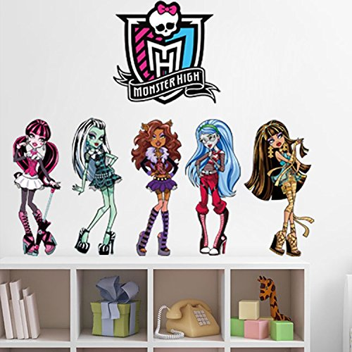Monster High Cartoon PVC Removable Wall Stickers/ New Arrival Lovely Girls Wall Decals For Home Decor