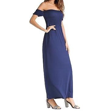 28eaaa5e7a Women s Casual Summer Off Shoulder Strapless Summer Beach Floral Slit Maxi  Dress - (Blue Small