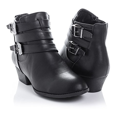 Bellame Women's Side Zip High Block Heel Ankle Booties, Black, 6.0 B(M)