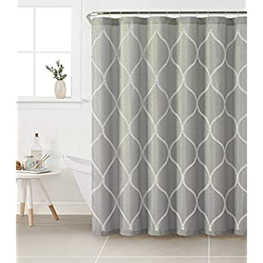 Fabric Shower Curtain with White Embroidered Trellis Design (Silver Gray)