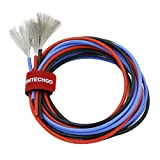 BNTECHGO 14 Gauge Silicone Wire Ultra Flexible 5 ft Red 5 ft Black and 5 ft Blue High Resistant 200 deg C 600V 14 AWG Silicone Rubber Wire 400 Strands of Tinned Copper Wire Stranded Wire for Battery
