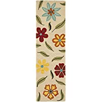 Safavieh Blossom Collection BLM678A Handmade Beige and Multi Premium Wool Runner (2'3' x 6')
