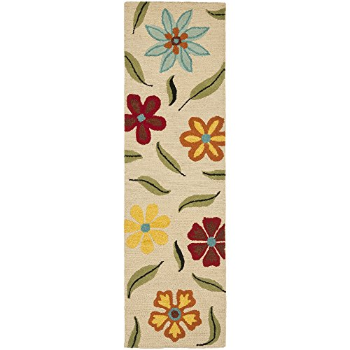 Safavieh Blossom Collection BLM678A Handmade Beige and Multi Premium Wool Runner (2'6