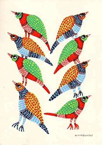 Gond Indian Painting Handmade Madhya Pradesh Tribal Folk Miniature Decor Art