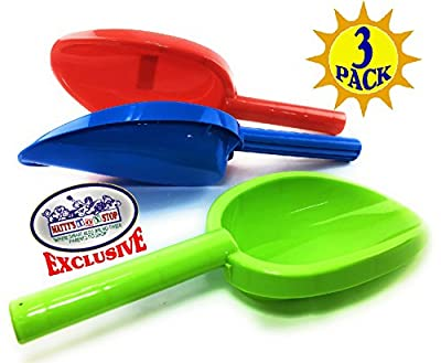 """Matty's Toy Stop 14"""" Kids Long Handle Sand Scoop Plastic Shovels for Sand & Beach (Red, Blue & Green) Complete Gift Set Bundle - 3 Pack"""