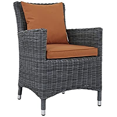 Modway Summon Dining Outdoor Patio Armchair With Sunbrella Brand Tuscan Orange Canvas Cushions - PATIO REFRESH - Update your backyard or porch with an inviting modern patio dining arm chair. Effortlessly accommodate the needs of your guests while creating the perfect outdoor patio dining setting OUTDOOR DINING - Enjoy dinner under the stars or a sunny lunch on the patio with this outdoor dining chair. Great as an accent chair or around the dining table, this arm chair offers supportive comfort CONTEMPORARY STYLE - Updating decks and backyards, the durable collection boasts clean lines and modern appeal. All-weather cushions and machine washable Sunbrella fabric covers grant stylish comfort - patio-furniture, patio-chairs, patio - 51wJghCcujL. SS400  -