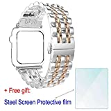 ZhenYue 2016 Latest Solid Stainless Steel Metal Replacement 7 Pointers Watchband Bracelet Strap Bands Band + Butterfly Buckle Clasp for Apple Wrist Watch Iwatch Series 1 2 (42mm,Silver+Rose Gold)