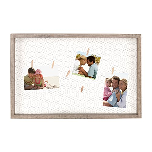 DesignOvation Tweden Clip Wood Picture Frame Chicken Wire with Clothespin Clips, 25
