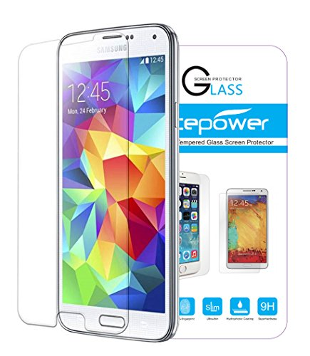 Galaxy S5 Screen Protector, ACEPower Premium Tempered Glass Screen Protector for Galaxy S5 , 99.9% Clarity and Touchscreen Accuracy (Lifetime No-Hassle Warranty)