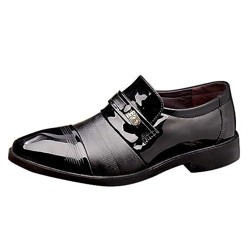 Zapatos de Cuero Hombre, Oxford con Cordones Vestir cómodos ...