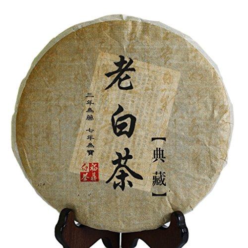 350g (12.3 oz) 2009 year FuDing Organic Premium Aged Shou Mei Long Life Eyebrow Cake Chinese White - Long Dry Life Tea