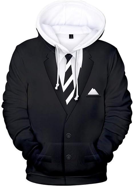 ZTXY Mens Sudadera con Capucha Sudadera Jumper Rayas Tie Suit 3D ...