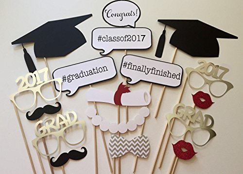 Losuya 2017 Graduation Photo Props Photobooth Party Favor 17pcs Glasses Moustache Red Lips Bow Ties On Sticks Graduation Ceremony Party -