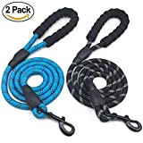 Mycicy 5ft Rope Dog Leash- Heavy Duty Nylon Pet Training Leash with Comfortable Padded Handle for Medium and Large Breeds' Outdoor Traction Service Walking (2pack-Black+Blue)