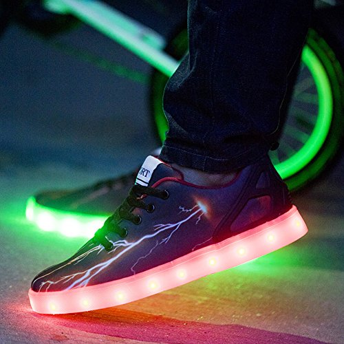 Mens Women LED Light up Lightning Shoes Sportswear Sneaker Luminous Casual Shoes 1539black jKaLwYMqe