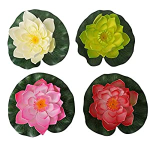 Summer Flower Artificial Floating Foam Lotus Flowers Realistic Vibrant Color Water Lily Pads Perfect for Home Garden Patio Pond Pool Aquarium Fish Tank Wedding Party Decor 100