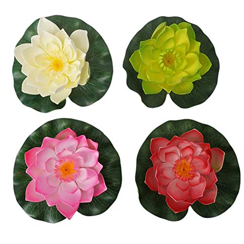Summer Flower Artificial Floating Foam Lotus Flowers Realistic Vibrant Color Water Lily Pads Perfect for Home Garden Patio Pond Pool Aquarium Fish Tank Wedding Party Decor,Pack of 4 (Mixcolors-1)