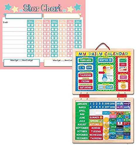 Melissa & Doug Bundle Includes 2 Items Deluxe Wooden Magnetic Responsibility Chart with 90 Magnets My First Daily Magnetic Calendar - Responsibility Chart Magnetic Doug
