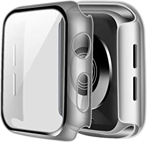 ONMROAD Clear Case Compatible with Apple Watch Screen Protector Series 3 38mm, Overall Protective Durable PC Bumper Case with HD Tempered Glass Cover for iwatch Series 2 Series 1 Case