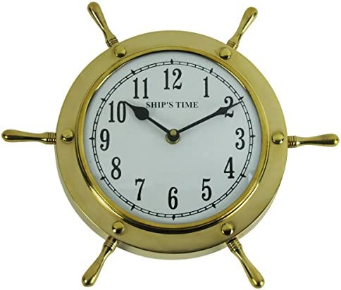 Treasure Gurus Solid Brass Nautical Shipwheel Ships Helm Wheel Wall Clock Coastal Home Decor