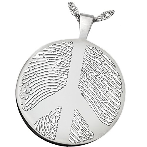 Fingerprint Memorial Jewelry: Sterling Silver Round Charm-Peace Sign
