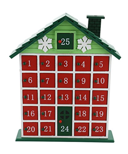 "GREEN RUSTIC CABIN ADVENT WOODEN CALENDAR COUNTDOWN TO CHRISTMAS INTERACTIVE HOLIDAY CALENDAR HOME DÉCOR 12"" X 10"" For Sale"