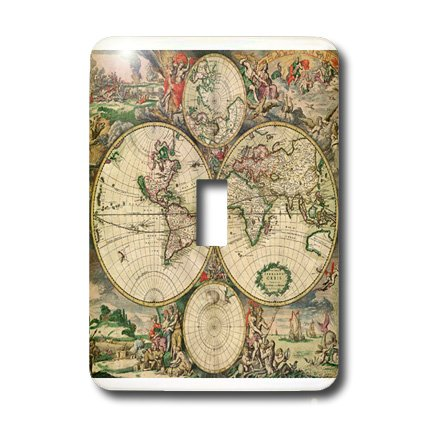 3dRose LLC lsp_7425_1 World Map 1689, Single Toggle Switch