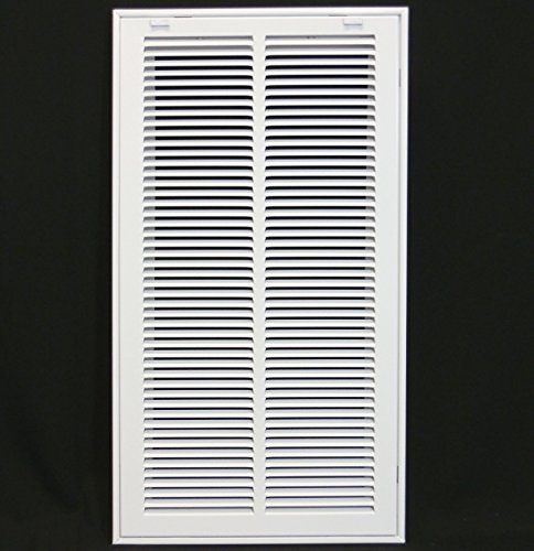 12' X 24 Steel Return Air Filter Grille for 1' Filter - Removable Face/Door - HVAC DUCT COVER - Flat Stamped Face - White [Outer Dimensions: 14.5'w X 26.5'h]