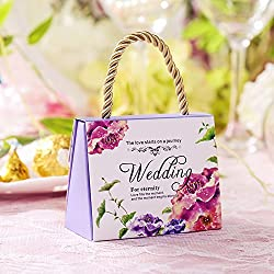30pcs/Pack Europe Flower Wedding Candy Boxes With Handle Birthday Bridal Shower Party Favor Sweet Bag Decor Set,Small-Violet