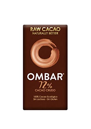 Ombar, Chocolatina Ecológica 72% Cacao -Pack de 5 unidades de 35 gr