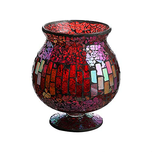 Whole Housewares 6.5 X 7 Inches Mosaic Glass Hurricane,Mosaic Glass Vase for Gifts & Home Decoration (Red) (Mosiac Vase)