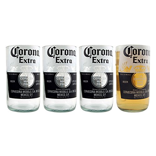 Corona Extra Recycled Beer Bottle Drinking Glasses - 10 oz - Set of 4 Glasses