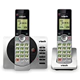 VTech DECT 6.0 Dual Handset Cordless Phone with ITAD, CID, Backlit Keypads and Screens, Full Duplex Handset Speakerphones, Call Block Silver/Black, CS6929-2