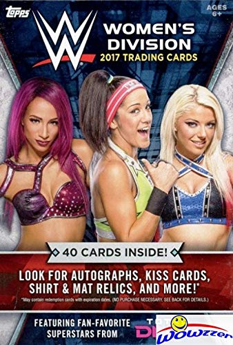 - 2017 Topps WWE Women's Division HUGE Factory Sealed HANGER Box with 40 Cards including (5) EXCLUSIVE Cards! Look for Autographs, Kiss Cards, Shirt & Mat Relics of Top WWE Female Superstars! WOWZZER!