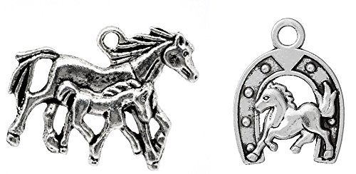 (Horse Charm Pendants Silver Tone, Equestrian Jewelry Making DIY (20 of each))