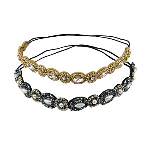 yueton Pack of 2 Handmade Crystal Rhinestone Beads Elastic Headband Hair Band Women Hair Accessories (Navy blue + Gold)