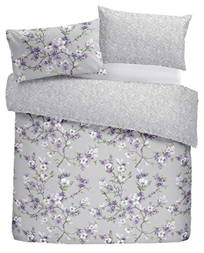 - HAND-DRAWN STYLE FLORAL FLOWERS LILAC USA QUEEN SIZE (COMFORTER COVER 230 X 220 - UK KING SIZE) (PLAIN SILVER GREY FITTED SHEET - 152 X 200CM + 25 - UK KING SIZE) PLAIN SILVER GREY HOUSEWIFE PILLOWCASES 6 PIECE BEDDING SET