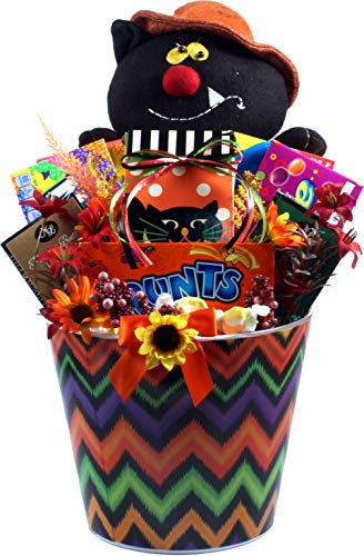 Gift Basket Village - Halloween Party Pail Of Treats - Large Halloween Gift Pail With Scary Cat and Loads Of Candy -