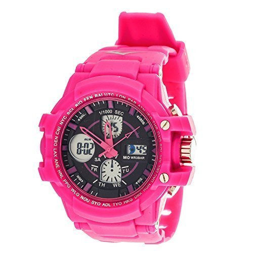 Price comparison product image Everlast Sport Men's Analog Digital Round Watch with Pink Rubber Strap