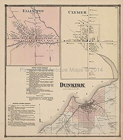 Dunkirk Clymer New York Antique Map Stewart 1867 Original Chautauqua on