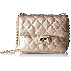 T-Shirt & Jeans Quilted Flap Bag with Chain Handle, Gold