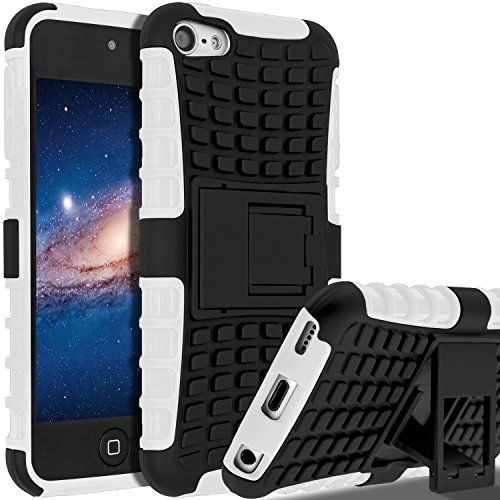 iPod Touch 7th Generation Case, iPod Touch 6 Case, iPod Touch 5 Case, SLMY(TM) Heavy Duty Dual Layer Shockproof Resistance Hybrid Rugged Cover Case with Built-in Kickstand (White) (Apple Touch 6 Generation Ipod)
