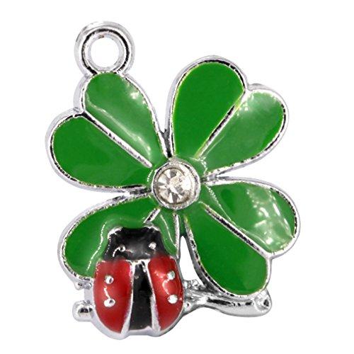M51-E Cute Four Leaf Clover Ladybug Charms Pendants Beads Wholesale (10 pcs) ()