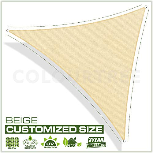 ColourTree Custom Size Order to Make Sun Shade Sail Canopy Mesh Fabric UV Block Right Triangle – Commercial Standard Heavy Duty – 190 GSM – 3 Years Warranty Right Triangle 12 x 24 x 26.8 Beige