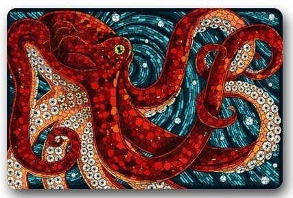 Octopus in the oceans Large Doormat Neoprene Backing Non Slip Outdoor Indoor Bathroom Kitchen Decor Rug Mat Welcome Doormat - Customer Off Very New 30